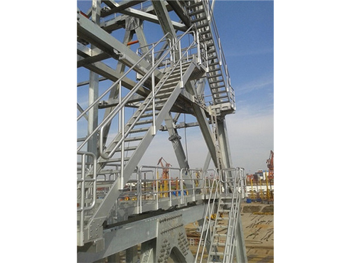 oil drilling platform stairs and walkway system