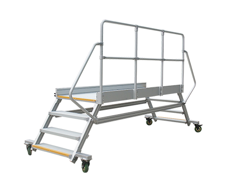 industrial mobile crossover platform with guardrail