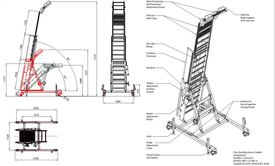 engine maintenannce ladder drawing